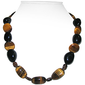 Tiger Eye and Black Onyx Necklace 'Majestic'