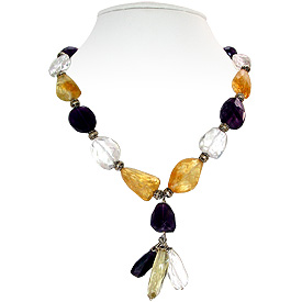 Amethyst, Crystal Quartz and Citrine Necklace 'Charming Vibrations'