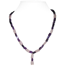 Amethyst and Rose Quartz Necklace 'Spring'