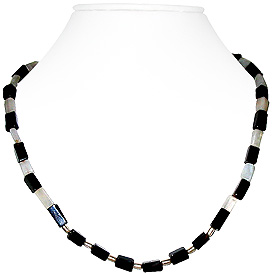Black Onyx and Moonstone Necklace 'Comet'