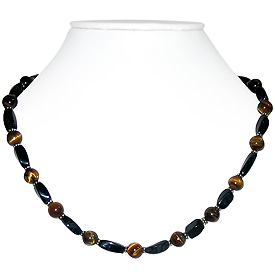 Tiger Eye and Black Onyx Necklace 'Obsesation'
