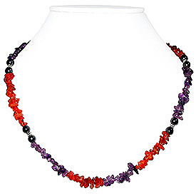 Amethyst and Carnelian Necklace 'Fireworks'