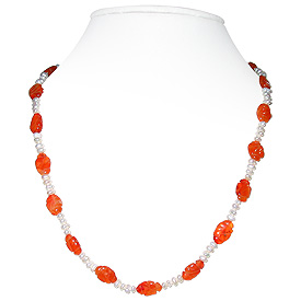 Carnelian and Pearl Necklace 'Color Burst'