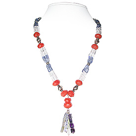 Carnelian, Crystal Quartz, Iolite and Malachite Necklace 'Butterfly'
