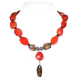 Carnelian and Smoky Quartz Necklace 'Sparkling Fire'