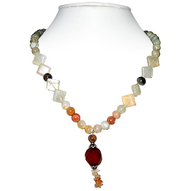 Carnelian and Moonstone Necklace 'Moonlight Burst'