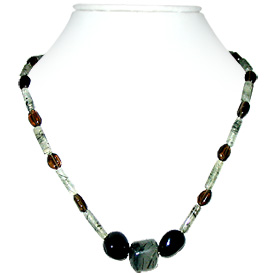 Rutile Quartz and Smoky Quartz Necklace 'Carnival'