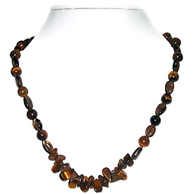 Smoky Quartz and Tiger Eye Necklace 'Puzzle'