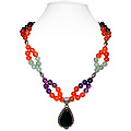 Amethyst, Carnelian and Green Aventurine Necklace 'Princess'