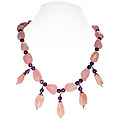 Amethyst and Rose Quartz Necklace 'Mystical Saga'