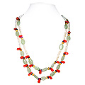 Carnelian, Green Aventurine, Citrine and Pearl Necklace 'Fruity'